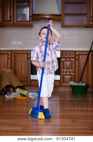 Cleaning. Boy Doing Housework