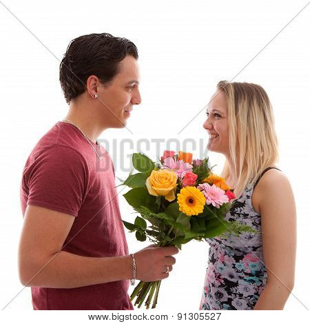 Boy Is Giving Flowers To His Girlfriend