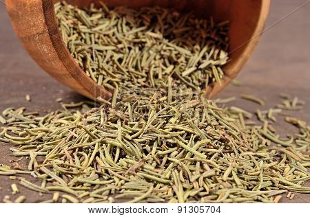 Dried Rosemary In A  Bowl