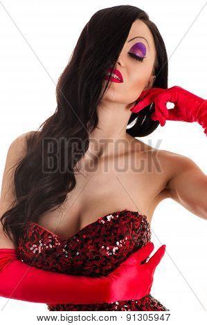 portrait beautiful woman in a red dress