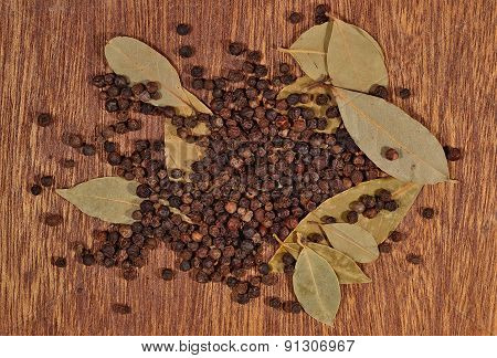 Heap Of Bay Leaves And Peppercorns