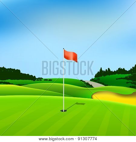 Golf Hole Vector Green Tee Background