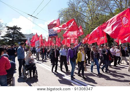 Sevastopol / Crimea - May 9, 2015: People Are Columns In The Parade In Honor Of The 70Th Anniversary