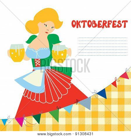 Banner For Oktoberfest With Girl And Beer