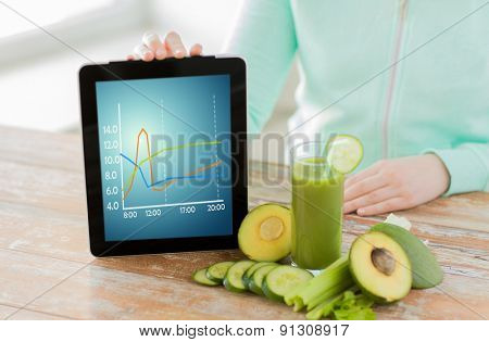 healthy eating, technology, diet and people concept - close up of woman hands holding tablet pc computer with chart, green fresh juice and vegetables sitting at table
