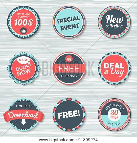 Vintage labels template set: free shipping ,free, download, new collection, deal of the day, book no