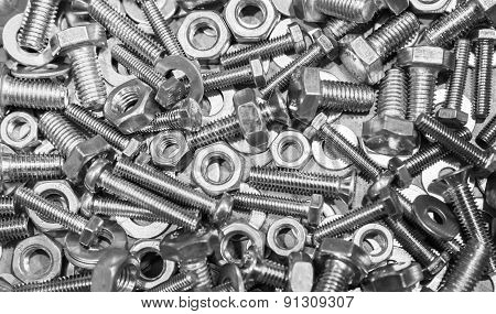 Shining Bolts And Nuts, Photo Background