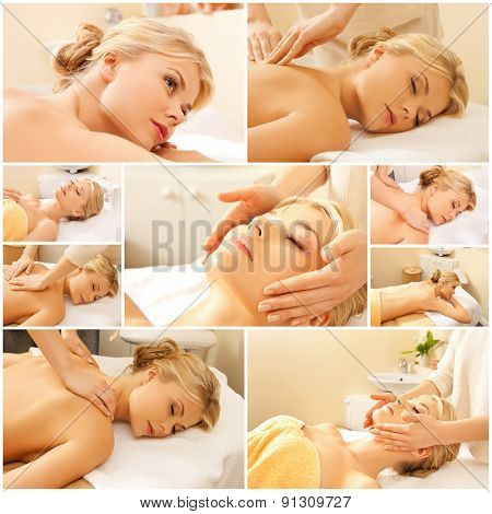 beauty, healthy lifestyle and relaxation concept - collage of many pictures with beautiful young woman having facial or body massage in spa salon