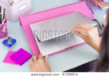Female Hands Opening A Laptop.