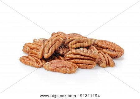 Pecan halves isolated on a white