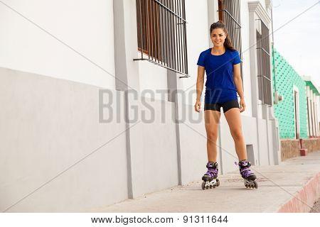 Happy Female Skater Outdoors