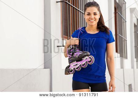 Cute Female Skater Smiling