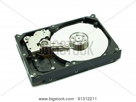 Old Hard Disk On White Background