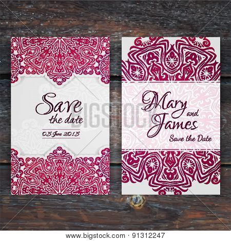 Lacy Vector Wedding Card Template.