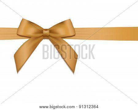 Shiny Holiday Gold Satin Ribbon On White Background.