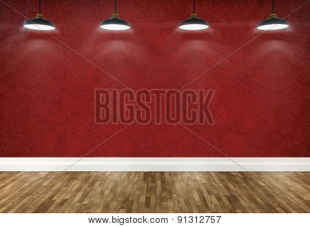 3D Red  Room With Ceiling Lamps
