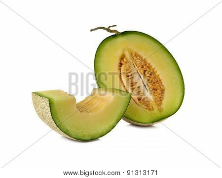 Ripe Green Melon With Stem On White Background