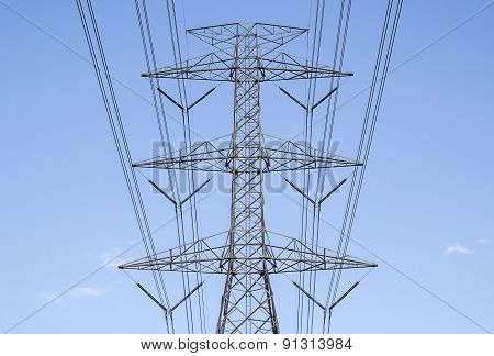 High Voltage Post. High Voltage Tower Sky Background.