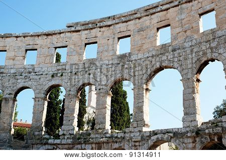 View On The Wall Antique Roman Forum In Pula