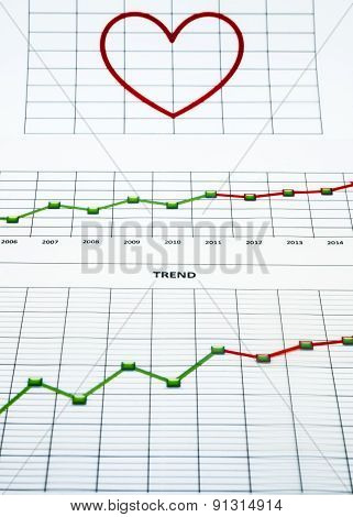 Stack Of Paper Documents With Financial Reports And A Big Red Heart On White Background