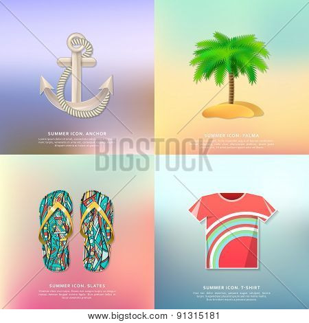 Anchor and rope, palm tree, slippers, t-shirt. Summer icons