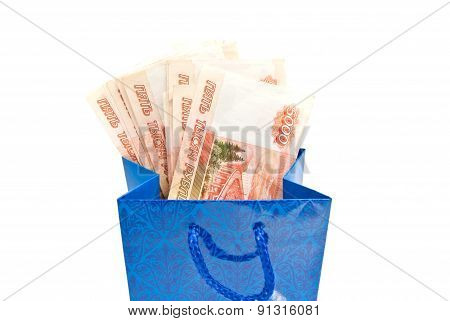 Blue Gift Bag With Money Closeup