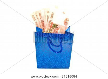 Blue Gift Bag With Money