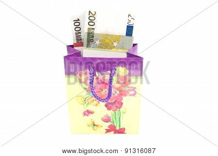 Colorful Gift Bag With Notes On White