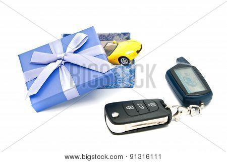 Car Keys, Sport Car And Blue Gift Box