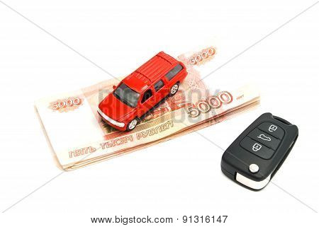 Red Car, Keys And Banknotes