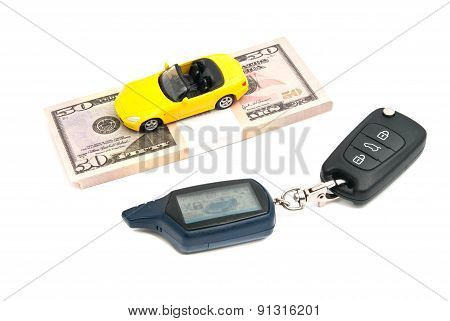 Keys, Sport Car And Banknotes