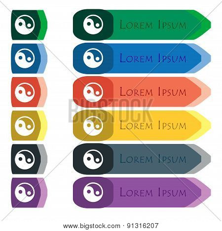 Ying Yang  Icon Sign. Set Of Colorful, Bright Long Buttons With Additional Small Modules. Flat Desig