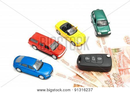 Four Different Cars, Keys And Russian Banknotes