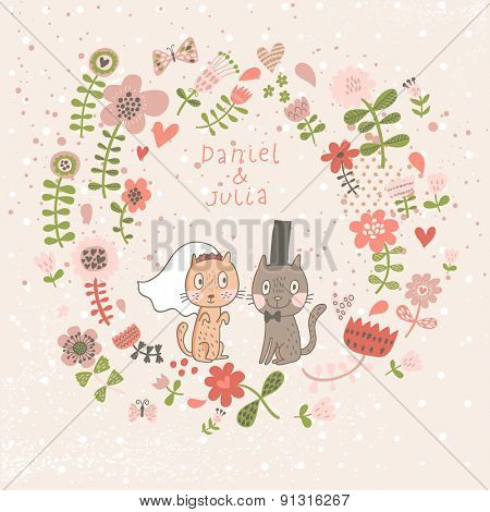 Sweet Save the Date invitation in vector. Funny cartoon cats in bright floral wreath