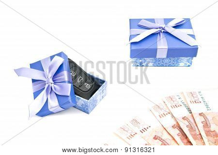 Car Keys, Banknotes And Blue Gift Boxes