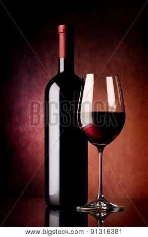 Red wine on vinous background