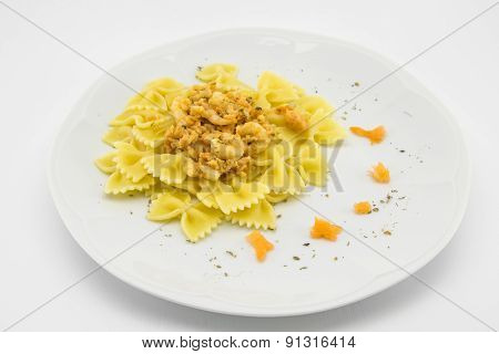Italian Pasta Called Butterflies With Shrimp Salmon And Basil