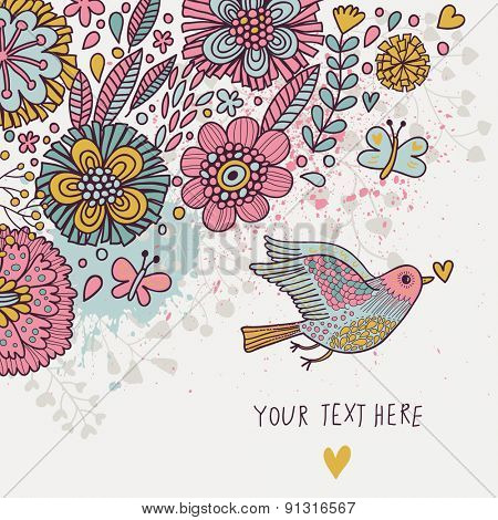 Spring floral card in sweet pastel colors. Bird, flowers and butterflies in cute floral background in vector. Romantic card