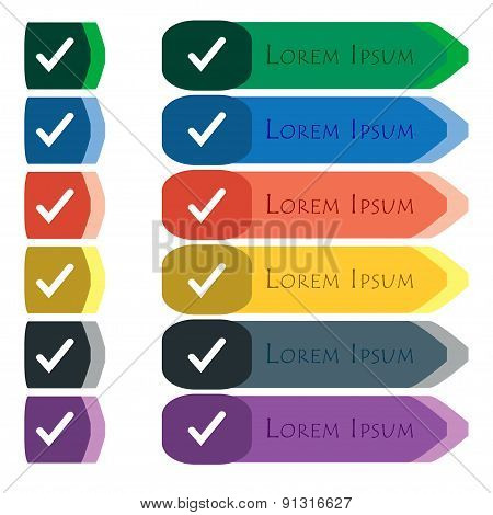 Check Mark, Tik  Icon Sign. Set Of Colorful, Bright Long Buttons With Additional Small Modules. Flat