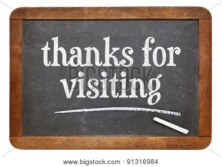 Thank you for visiting  sign -  a vintage slate blackboard