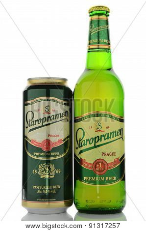 Staropramen premium beer isolated on white background.