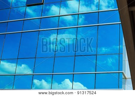 Windows Glass Of  Office Building With Cloud