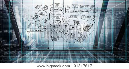 Brainstorm graphic against abstract technology background