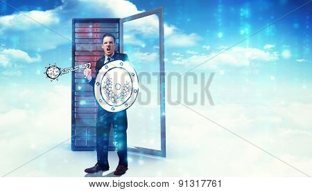 Corporate warrior against composite image of server tower