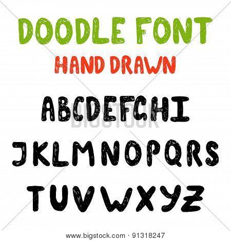 Hand draw doodle abc, alphabet grunge scratch type font