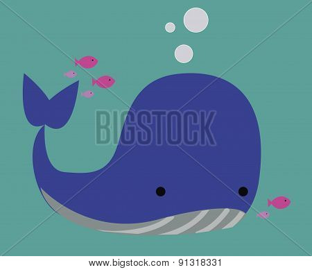 Vector Illustration Of A Whale.