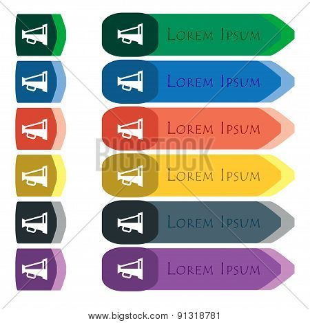 Megaphone Soon, Loudspeaker  Icon Sign. Set Of Colorful, Bright Long Buttons With Additional Small M