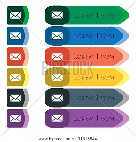 Mail, Envelope, Message  Icon Sign. Set Of Colorful, Bright Long Buttons With Additional Small Modul
