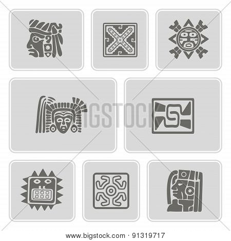set of monochrome icons with American Indians relics dingbats characters (part 8)