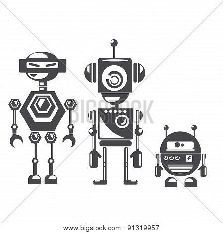 Flat design style robots and cyborgs.